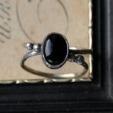 Handmade Double Band Oval Black Onyx and Sterling Silver Ring - UK Size P (US Size 7.5)