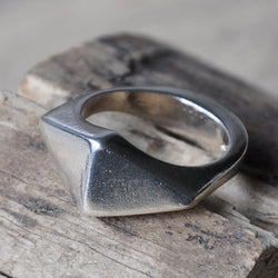 Handmade Men's Sterling Silver Diamond Shaped Ring, Rings - the nine of hearts jewellery