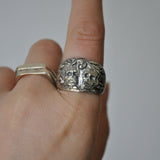 Hand-carved Double Skull Ring - UK Size Q (US Size 8), Rings - the nine of hearts jewellery