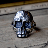 Hand carved Sterling Silver Textured Skull Ring (Oxidised) Memento Mori Ring