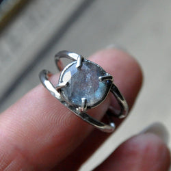Handmade Floating Labradorite and Sterling silver Ring - UK Size L (US Size 5.5)