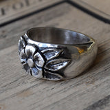 Hand-carved Silver Flower Ring - UK Size P (US Size 7.5), Rings - the nine of hearts jewellery