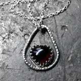 "Handmade Heart Shaped Indian Garnet and Silver Pendant on an 18"" Silver Chain"