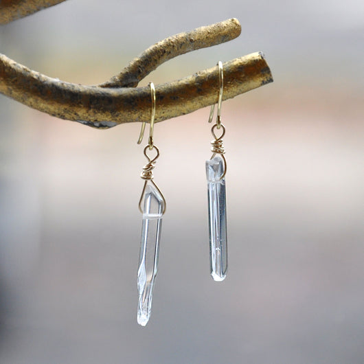 9ct Yellow Gold Clear Quartz Crystal Handmade Drop Earrings (Pair 2), Earrings - the nine of hearts jewellery