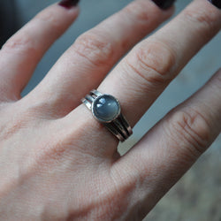 Grey Moonstone and Sterling Silver Handmade Ring - UK Size O (US Size 7)