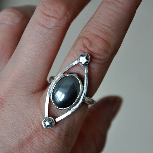 Handmade Hematite and Silver Ring, UK Size P (US Size 7.5)