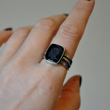 Black Onyx Intiligo and Sterling Silver Handmade Ring - UK Size Q (US Size 8)