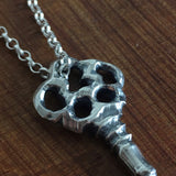 Hand Carved Solid Sterling Silver Key Pendant, Pendants - the nine of hearts jewellery