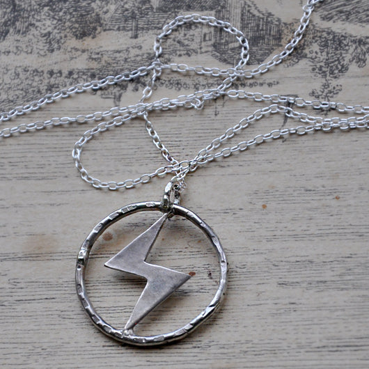 Handmade Sterling Silver Lightening Bolt Hoop Necklace 2