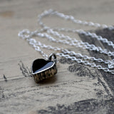 "Heart Shaped Black Onyx and Silver Handmade Pendant on an 18"" Silver Chain (Pendant 1)"
