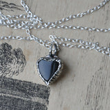 "Heart Shaped Black Onyx and Silver Handmade Pendant on an 18"" Silver Chain (Pendant 2)"