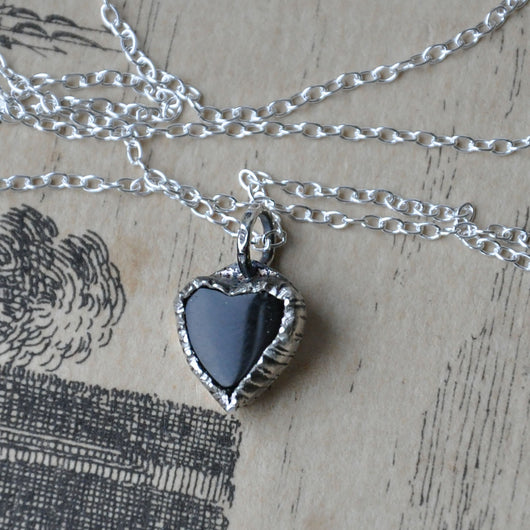 Heart Shaped Black Onyx and Silver Handmade Pendant on an 18