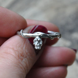 Hand carved Mini Skull ring in Silver- UK Size O (US Size 7)