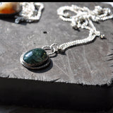 "Green Moss Agate and Silver Handmade Pendant on a 20"" Silver Chain, Pendants - the nine of hearts jewellery"