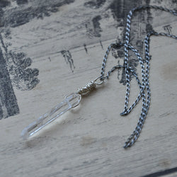 Sterling Silver and Clear Quartz Crystal Handmade Necklace (Necklace 1)
