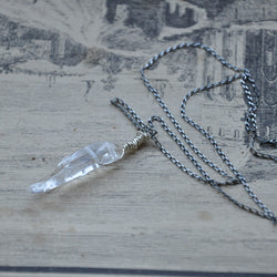 Sterling Silver and Clear Quartz Crystal Handmade Necklace (Necklace 2)