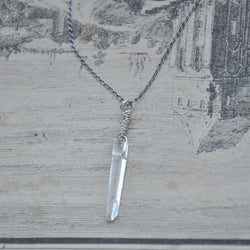 Sterling Silver and Clear Quartz Crystal Handmade Necklace (Necklace 4)