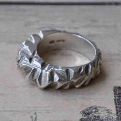 Rugged Ring in Silver, Rings - the nine of hearts jewellery