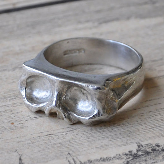 Hand carved Large Sliced Silver Skull Ring, Rings - the nine of hearts jewellery