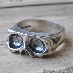 Oxidised Large Sliced Skull Ring, Rings - the nine of hearts jewellery