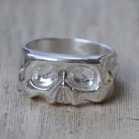 Sliced Skull Silver Handmade Ring - Memento Mori Ring, Rings - the nine of hearts jewellery