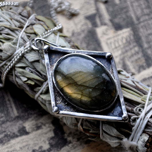 Handmade Oval Labradorite and Sterling Silver Pendant on a 20