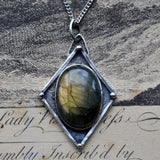 "Handmade Oval Labradorite and Sterling Silver Pendant on a 20"" Chain"