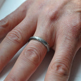 Hand Forged Hammered Band Ring in Sterling Silver - UK Size V (US Size 10.5 )