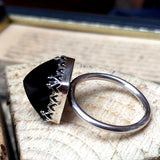 Pyramid Black Onyx and Silver Handmade Ring- UK Size O (US Size 7), Rings - the nine of hearts jewellery