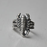 Handmade Solid Silver Triple Band Scorpion Ring - UK Size O (US Size 7)