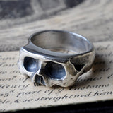 Sliced Skull Silver Handmade Ring (Oxidised) Memento Mori Ring, Rings - the nine of hearts jewellery