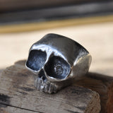 Chunky Top Jaw Handmade Silver Ring (Oxidised) Memento Mori Ring, Rings - the nine of hearts jewellery
