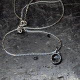 "Black tourmalinated quartz Pendant on a 16"" Silver Snake Chain"