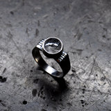Black Tourmalinated Quartz and Sterling silver Ring - UK Size K  (US Size 5)