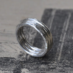 Hand forged Ridged Band in Sterling Silver - UK Size L (US Size 5.5), Rings - the nine of hearts jewellery