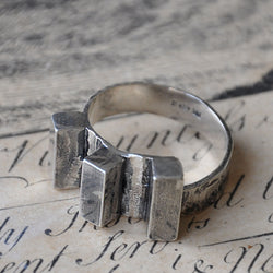 Handmade Triple Ridge Silver Ring - UK Q or US 8, Rings - the nine of hearts jewellery