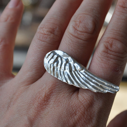 Handmade Silver Angel Wing Ring, Rings - the nine of hearts jewellery