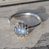 Blue Flash Labradorite and Sterling Silver Handmade Ring - UK Size N (US Size 6.5), Rings - the nine of hearts jewellery