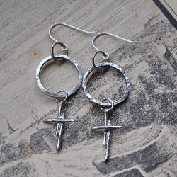 Handmade Sterling Silver Hoop and Cross earrings