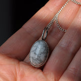"Howlite and Silver Handmade Pendant on a 20"" Silver Chain, Pendants - the nine of hearts jewellery"