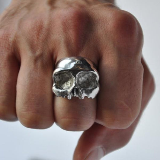 Chunky Half Skull Silver Ring - Memento Mori Ring, Rings - the nine of hearts jewellery