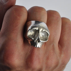 Chunky Top Jaw Silver Skull Ring, Rings - the nine of hearts jewellery