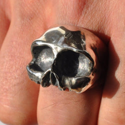Oxidised Chunky Half Skull Silver Ring - Memento Mori Ring, Rings - the nine of hearts jewellery