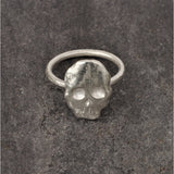 Flat Skull Ring in Silver, Rings - the nine of hearts jewellery