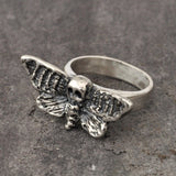 Handmade Sterling Silver Skull Moth Ring - Memento Mori Ring, Rings - the nine of hearts jewellery