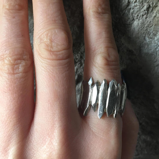 Hand Carved Silver Shard Ring, Rings - the nine of hearts jewellery