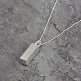 Handmade Block Drop Pendant in Solid Silver, Pendants - the nine of hearts jewellery