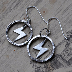 Handmade Sterling Silver Lightening Bolt Hoop Earrings