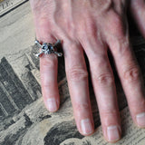 Men's Skull and Crossbones Handmade Silver Ring - Momento Mori Ring, Rings - the nine of hearts jewellery