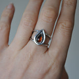 Handmade Sterling Silver and Pear Shaped Amber Ring - UK Size O (US Size 7)